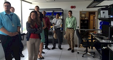 Interns tour cyber crimes forensic laboratory at the Attorney General's office.