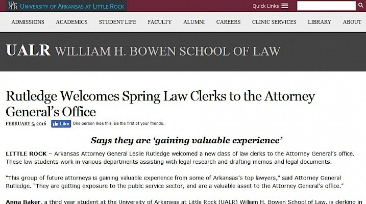 Screenshot of article about Rutledge welcoming spring Law Clerks to her office